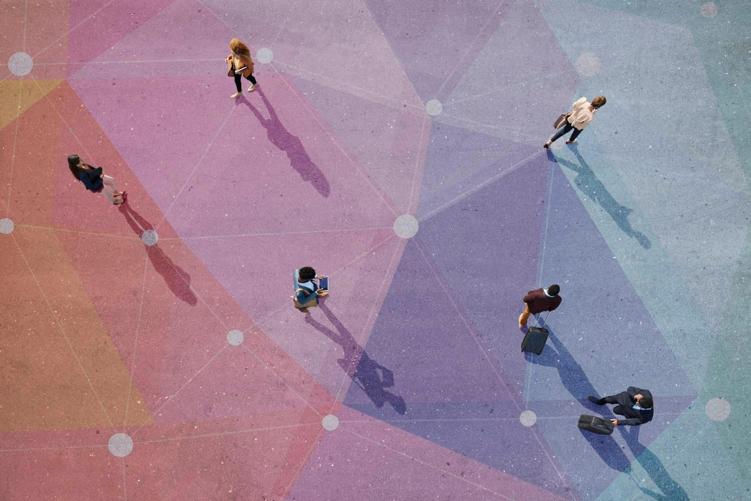 Getty image 912015306, top view of people walking in different directions