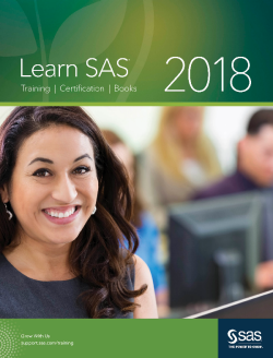 2018 Learn SAS Comprehensive SAS Education Catalog cover
